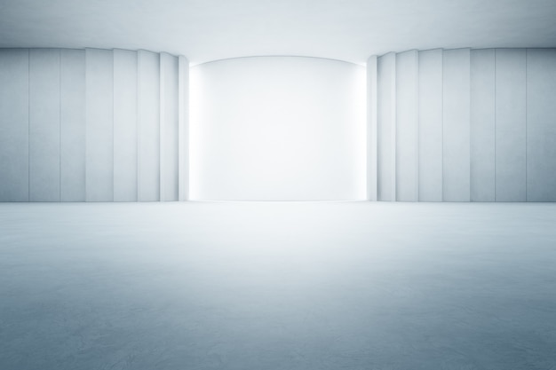 Abstract interior design of modern large showroom with empty gray concrete floor and white wall
