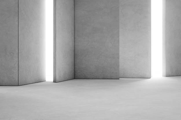 Abstract interior design of modern showroom with empty concrete floor and gray wall backgr