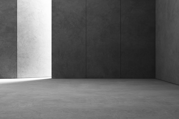 Abstract interior design of modern showroom with empty gray concrete floor and dark wall