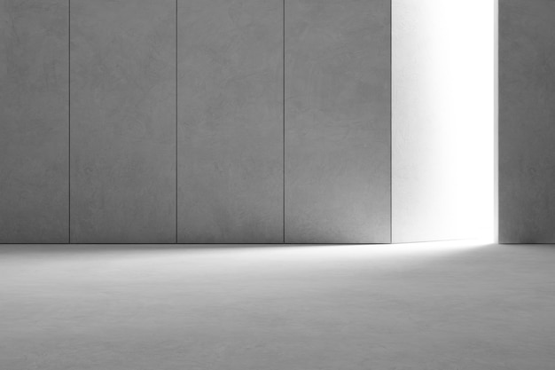 Abstract interior design of modern showroom with empty gray concrete floor