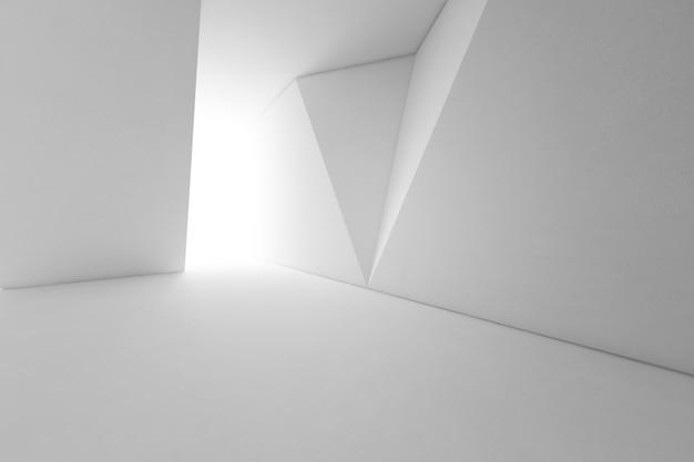 빈 바닥과 흰 벽 배경으로 현대 건축의 추상 인테리어 디자인