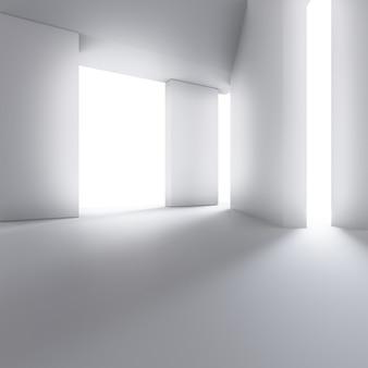 空のコンクリートの床とモダンなショールームの抽象的なインテリアデザイン。