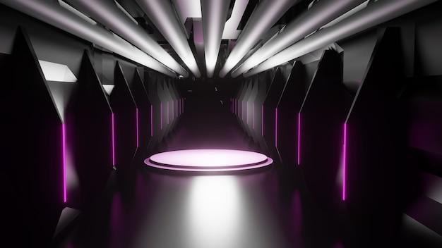추상, 인테리어 디자인, 터널, 복도, 공간 개념, 3d 렌더링
