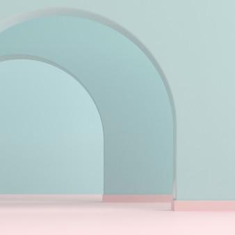 アーチの壁と抽象的なインテリアスペース。