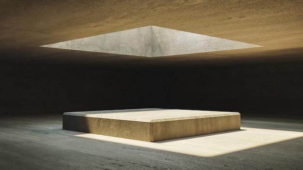 表彰台を照らすコンクリートの壁と上部の窓のある抽象的なインテリア