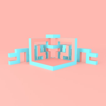 Abstract isometric arrangement of an expanding cube 3d illustration