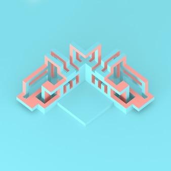 확장 큐브 3d 그림의 추상 아이소 메트릭 배열