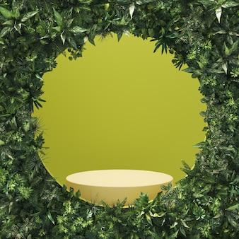 緑の部屋と表彰台の前にある抽象的なツタのシリンダーディスプレイ、製品を展示するためのモックアップ。 3dレンダリング