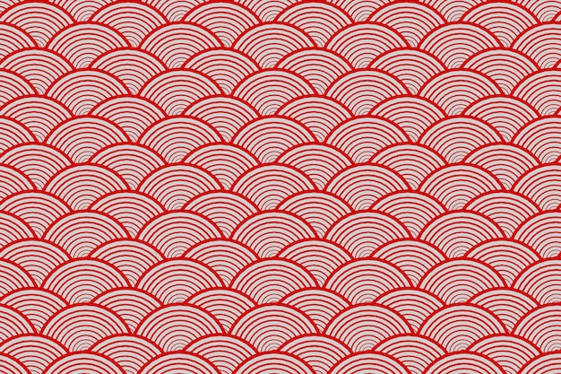 Abstract japanese traditional red water curve wave pattern  3d rendering