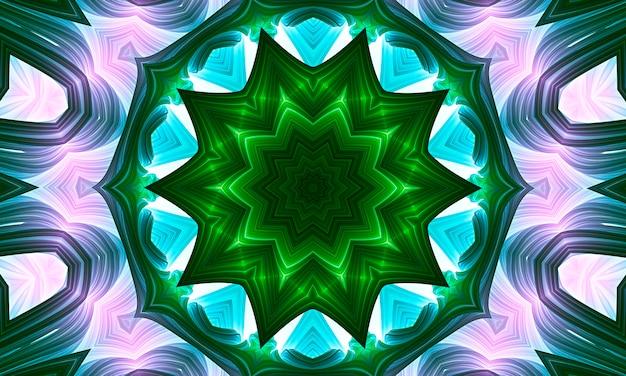 밝은 녹색 음영의 원에서 추상 만화경 배경. 환각 명상 스타일의 디지털 아트 이미지입니다. 텍스타일 효과가 있는 우아한 표현 텍스처. 장식 및 생태 개념입니다.