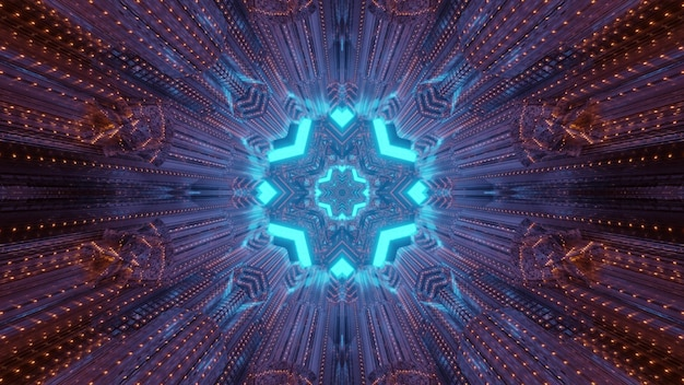 Abstract kaleidoscope background inside of tunnel with blinking red lights and round shaped gateway with blue geometrical shapes