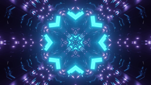 Abstract kaleidoscope background with blue and purple neon geometric ornament forming round shaped tunnel