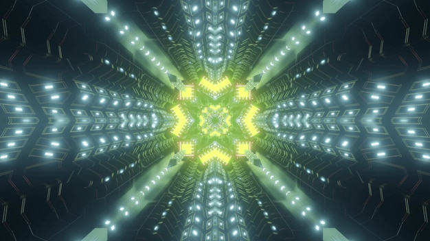 Abstract kaleidoscopic background of neon tunnel with yellow geometric element as 3d illustration