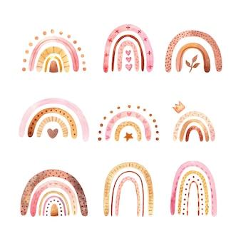 トレンディなスカンジナビア スタイルで自由奔放に生きる虹保育園アート イラストと抽象的な子供水彩レインドー セット クリップアート