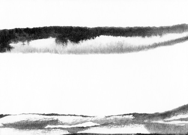 Abstract landscape ink hand drawn illustration. black and white ink winter landscape with river. minimalistic hand drawn