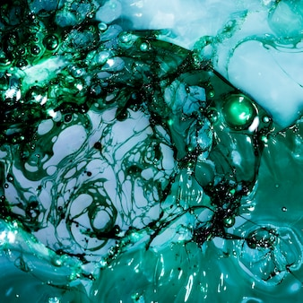 Abstract layers of green and blue slime