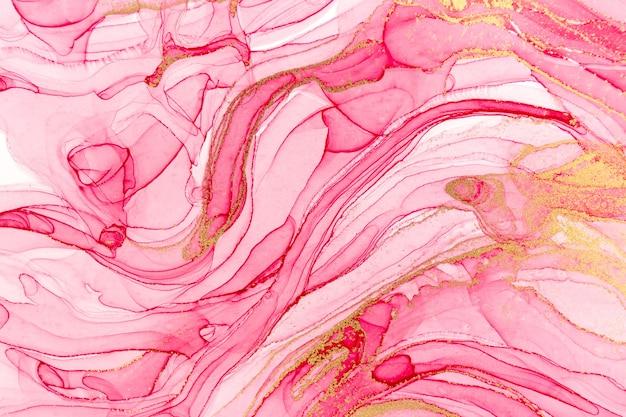 분홍색 페인트 배경의 추상 레이어입니다. 핑크와 골드 수채화 패턴.