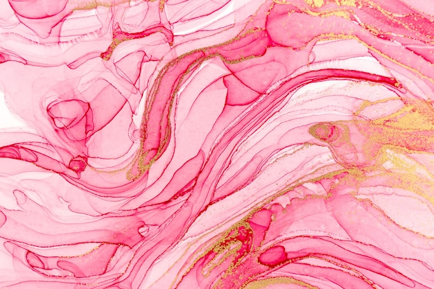 Abstract layers of pink paint background. pink and gold watercolor pattern.
