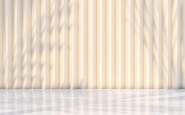 Абстрактная предпосылка тени листьев с концепцией желтой стены. 3d рендеринг
