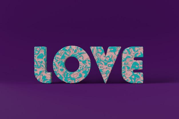 聖バレンタインの日の抽象的な文字3 dテキスト愛