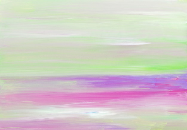 Abstract light artistic, white, purple, green, pink pastel brush strokes on paper.
