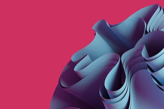 추상 밝은 파란색 3d 렌더링 분홍색 배경에 물결 모양의 개체 크리에이 티브 3d 개체 벽지