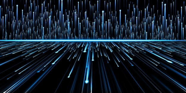 Abstract light lines glowing meteor technology background 3d illustration