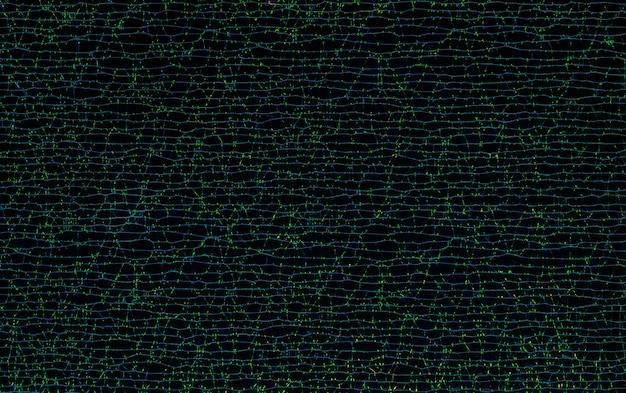 Абстрактная линия с отражением зеленого цвета на фоне текстуры черной бумаги