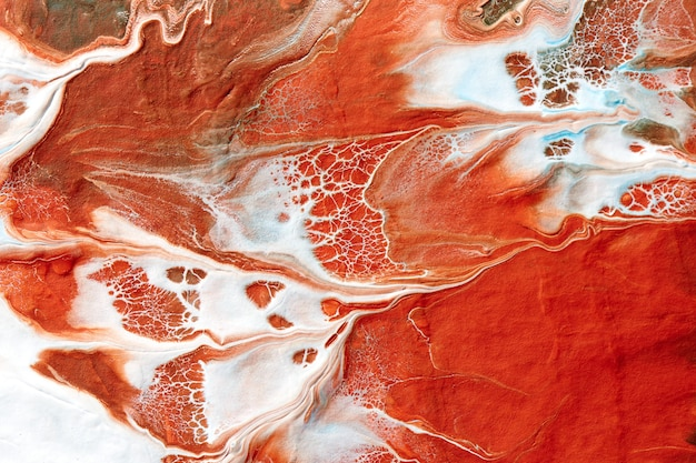 Abstract liquid red white colors paint background. fluid art, lush lava bloody sea wave
