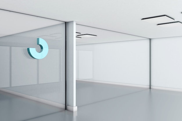 Abstract logo mockup on glass office wall. 3d rendering.