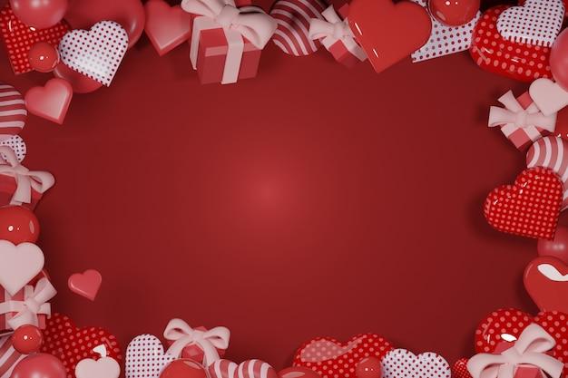 빨간색 배경에 추상 사랑 모양과 선물-3d 렌더링