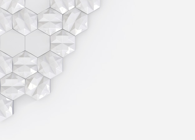 Abstract low polygon hexagon shape on copy space gray background