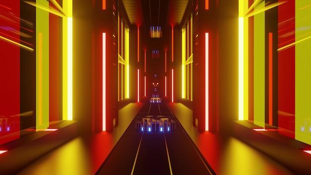 대칭적인 기하학적 모양과 밝은 노란색 및 빨간색 네온 불빛으로 구성된 추상 발광 3d 그림