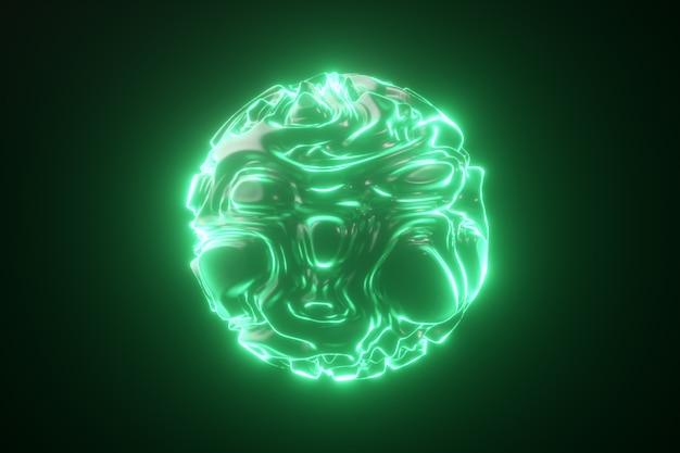抽象的な明るいネオン球。未来的な緑の波状の波紋と抽象的な背景。ストロボカーリーパターンの3d形状。 3 dイラスト