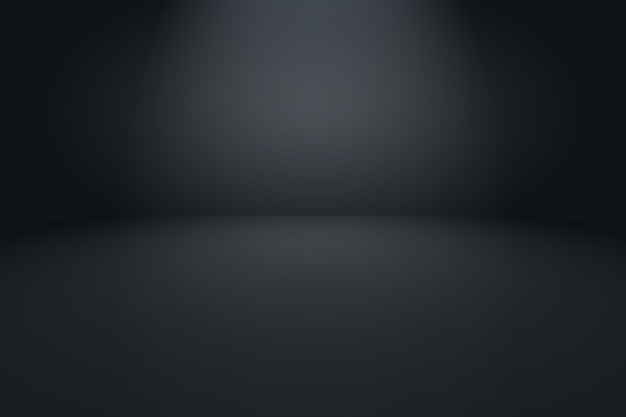 背景のスタジオの壁として使用される抽象的な贅沢なぼかしダークグレーと黒のグラデーション。