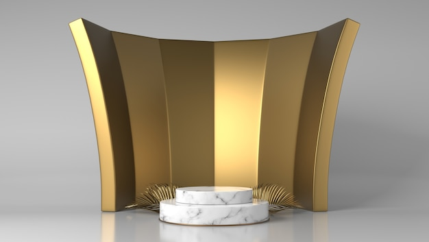 抽象的で豪華な金と白の大理石のプロダクトプレースメントは、金色の葉で表彰台を披露します