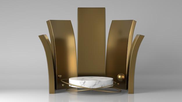 抽象的で豪華な金と白の大理石製品の配置ショーケース表彰台