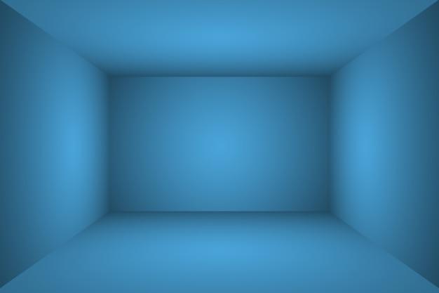 Abstract luxury gradient blue background. smooth dark blue with black vignette studio banner. 3d studio room.