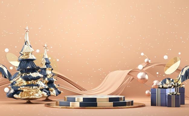 소나무와 장식 3d 렌더링 추상 럭셔리 메리 크리스마스 제품 디스플레이 연단