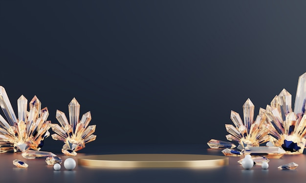 Abstract luxury stage platform with amber crystal, template for advertising product, 3d rendering.