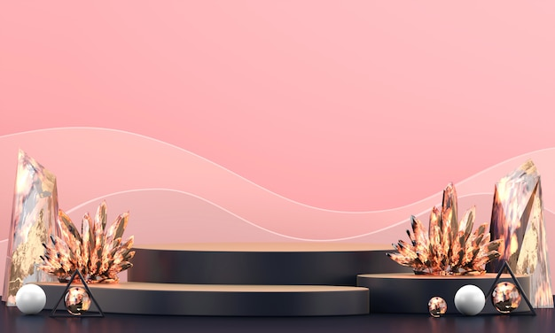 Abstract luxury stage platform with colorful amber crystal, for advertising product display, 3d rendering.