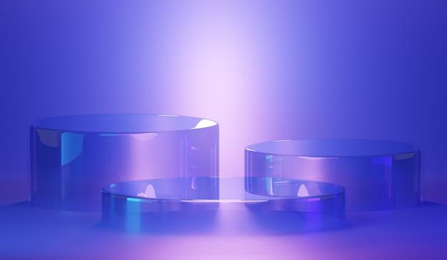 抽象的な豪華な透明なガラスの表彰台。製品のシーン、豪華なデザインの表彰台、3dレンダリング