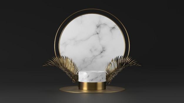 抽象的な豪華な白い大理石シリンダー表彰台と黒の背景の黄金の葉。