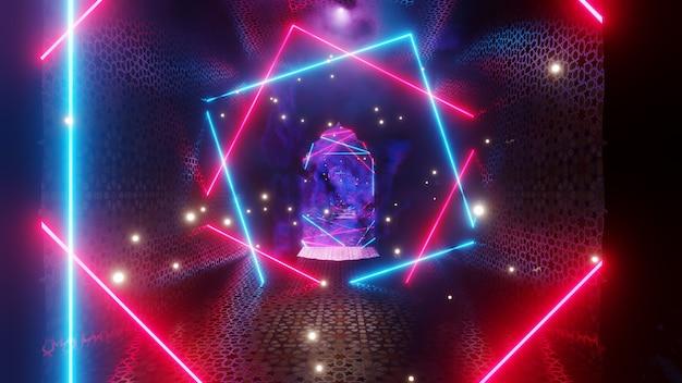 80년대 복고풍 및 홀로그램 장면의 벽지를 위한 판타지 랜드 배경의 추상 마법의 방