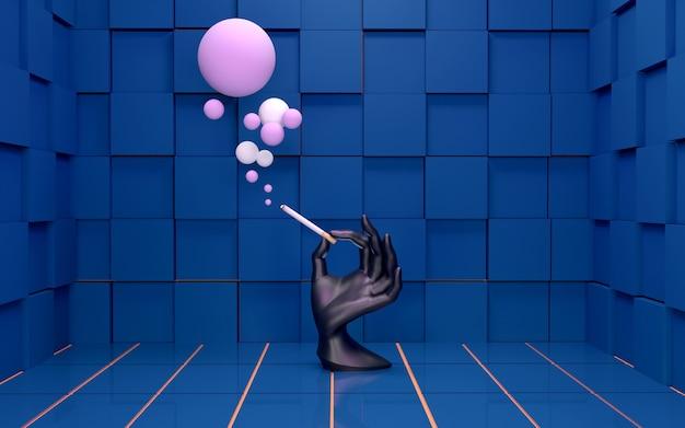 タバコの3dレンダリングを保持している抽象的なマネキンの手