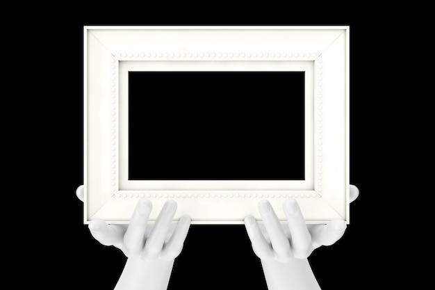 Абстрактные руки манекена, держа классическую деревянную фоторамку с свободным пространством для вашего дизайна на черном фоне. 3d рендеринг