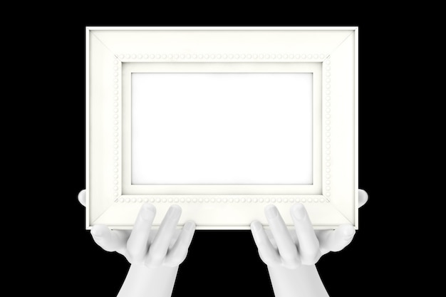 Abstract mannequin hands holding classic wooden photo frame with free space for your design on a black background. 3d rendering