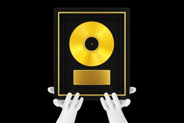 Abstract mannequin hands holding gold vinyl or cd prize award with label in black frame on a black background. 3d rendering