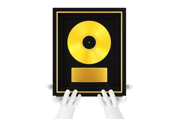 Abstract mannequin hands holding gold vinyl or cd prize award with label in black frame on a white background. 3d rendering