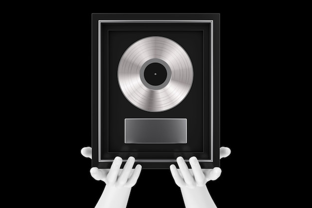 Abstract mannequin hands holding platinum or silver vinyl or cd prize award with label in black frame on a black background. 3d rendering